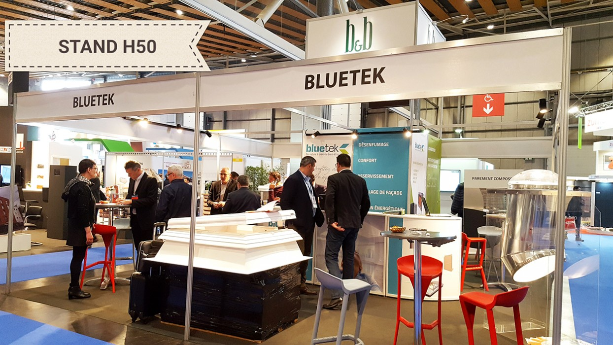 Salon Nordbat Lille 2018 avec Bluetek et Browaeys-Brame. Présentation conduit lumière naturelle Lightube, lanterneau Bluebac Therm Inside Air et boîtier adiabatique Adiabox