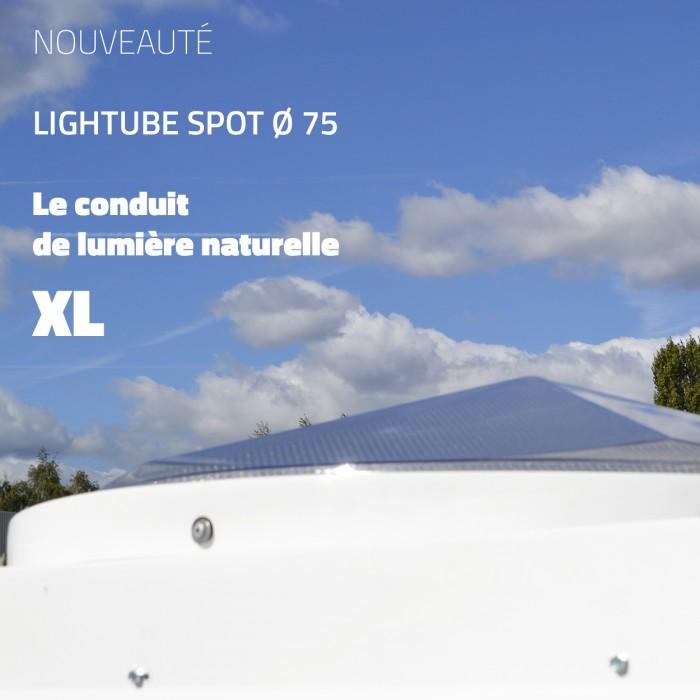 Actualité Bluetek nouveau puits de lumière naturelle Lightube Spot Ø 75 (diamètre 75) pour l'éclairage de bâtiments sombres, de couloirs, de locaux sans fenêtres