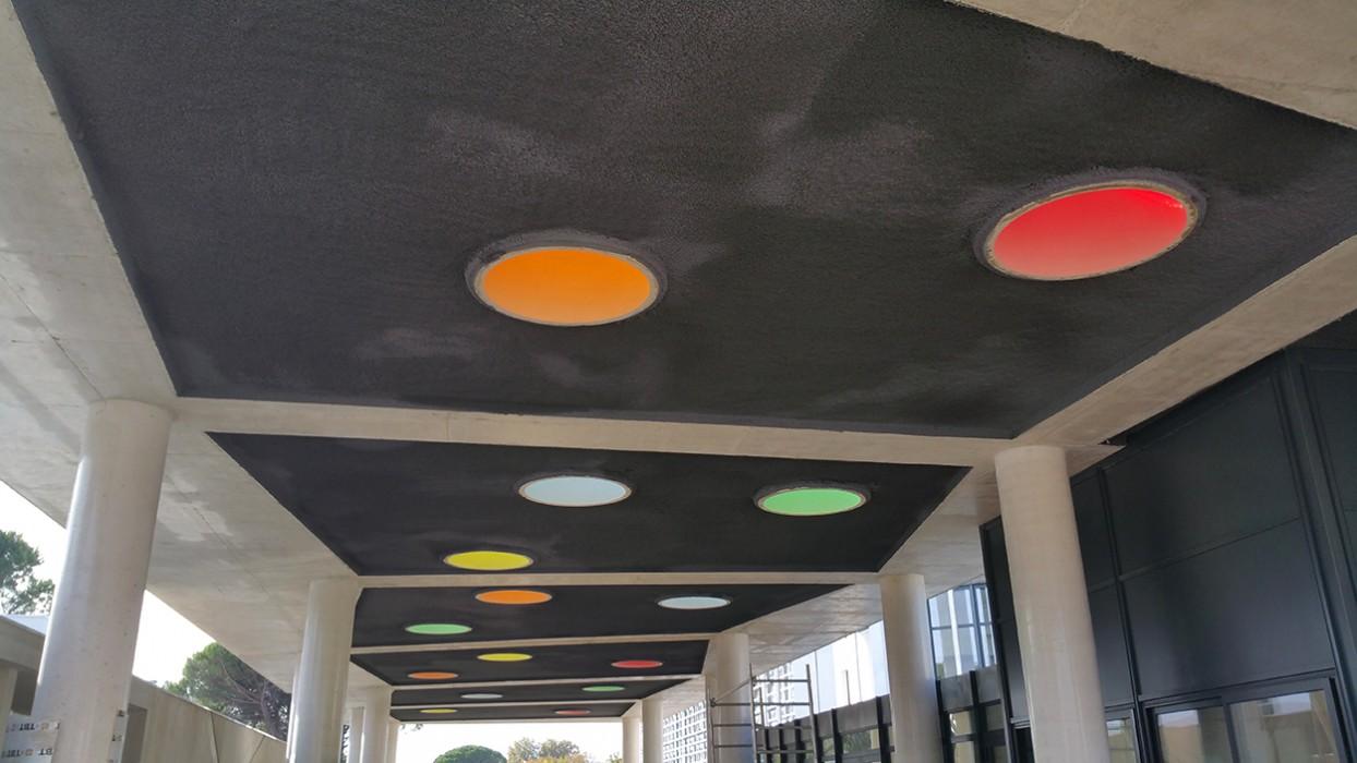 thermoformage langethermo prunis douine verre acrylique coupole dôme design architecture béton école