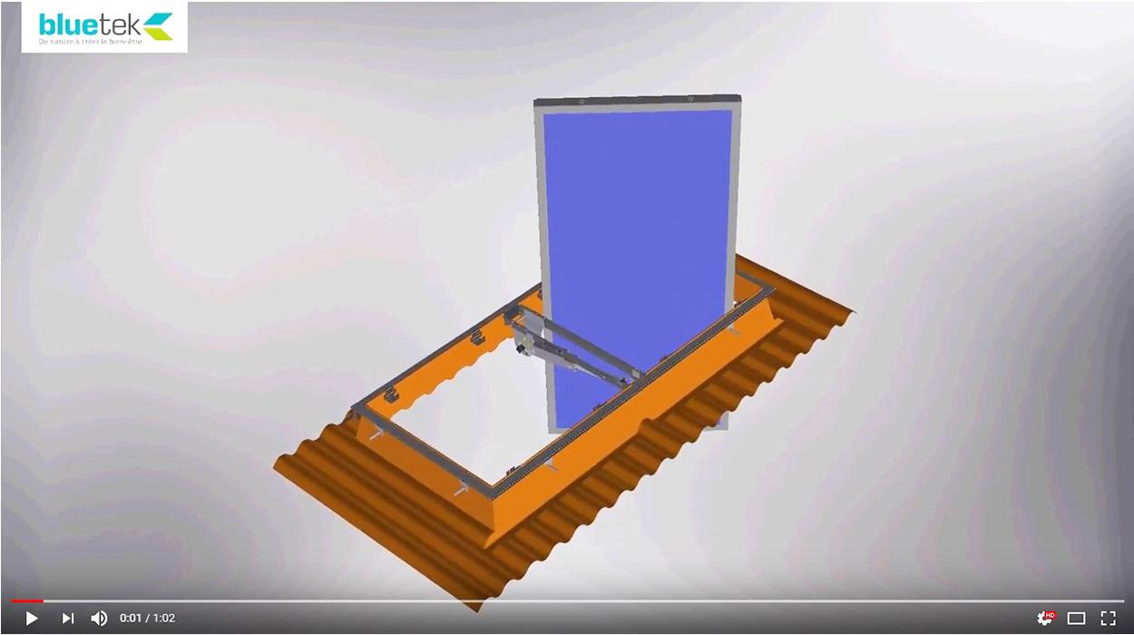 Animation 3D Inventor exutoire de désenfumage DENFC Bluebac Pneu Réno toiture fibro