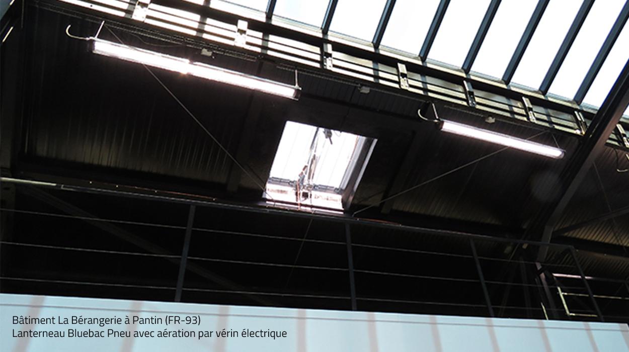 Ventilation par lanterneau de toiture Bluebac Pneu Bluetek Bérangerie à Pantin