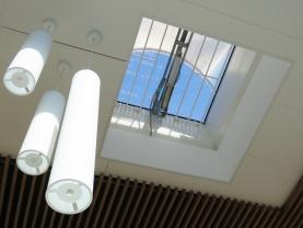 Lanterneaux verre en toiture du hall Septeo à Montpellier